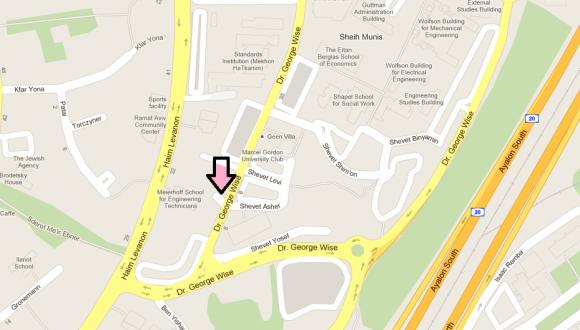 מפת הגעה - מעון האוניברסיטה